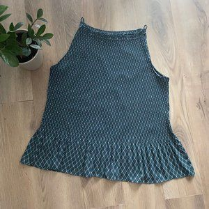 Ann Taylor Sleeveless Peplum Pleat Pattern Blouse